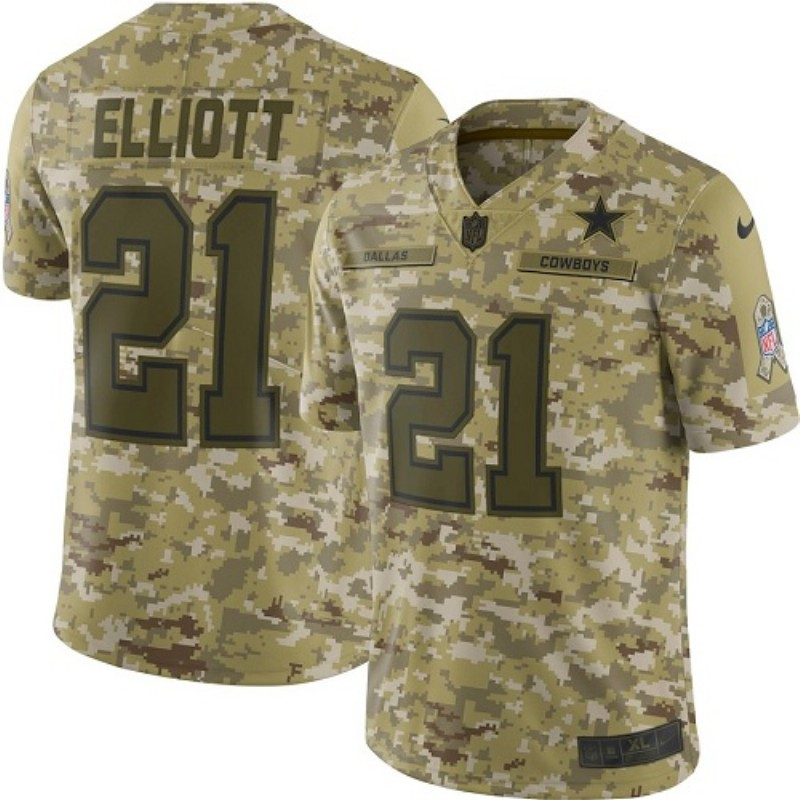 Youth Dallas Cowboys #21 Ezekiel Elliott 2018 Camo Salute To Service Limited Stitched NFL Jersey