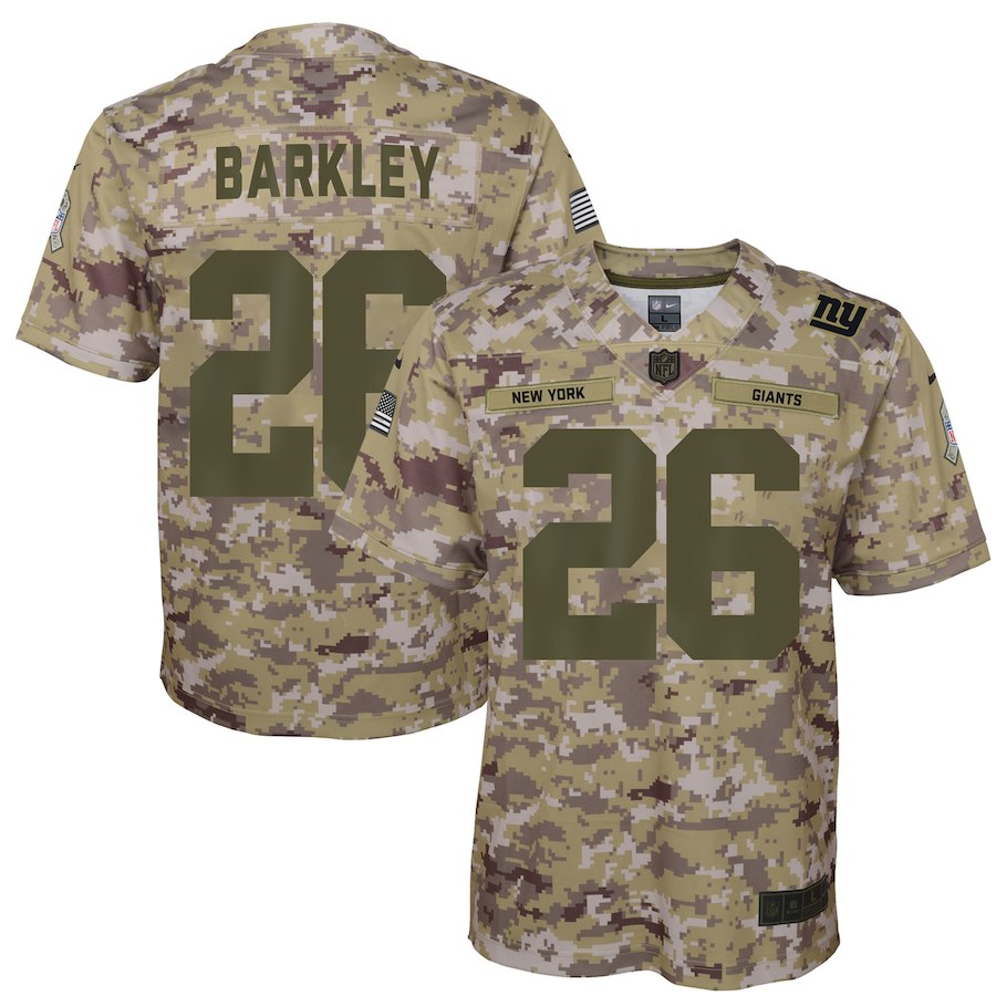Youth New York Giants #26 Saquon Barkley 2018 Camo Salute To Service Limited Stitched NFL Jersey
