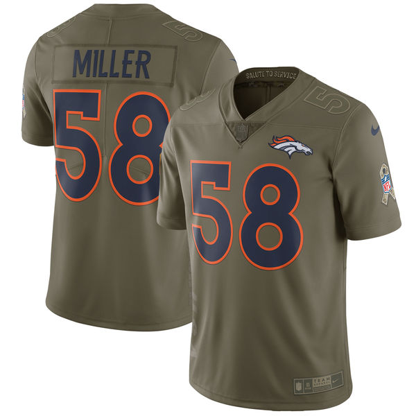 Youth Nike Denver Broncos #58 Von Miller Olive Salute to Service Limited Stitched NFL Jersey
