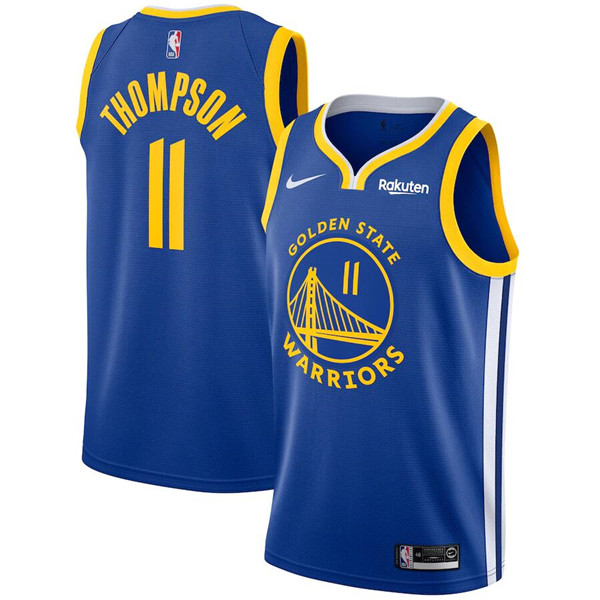 Youth Warriors #11 Klay Thompson Royal Swingman Patch Stitched NBA Jersey