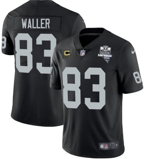 Youth Oakland Raiders #83 Darren Waller Black 2020 Inaugural Season With C Patch Vapor Limited Stitched NFL Jersey