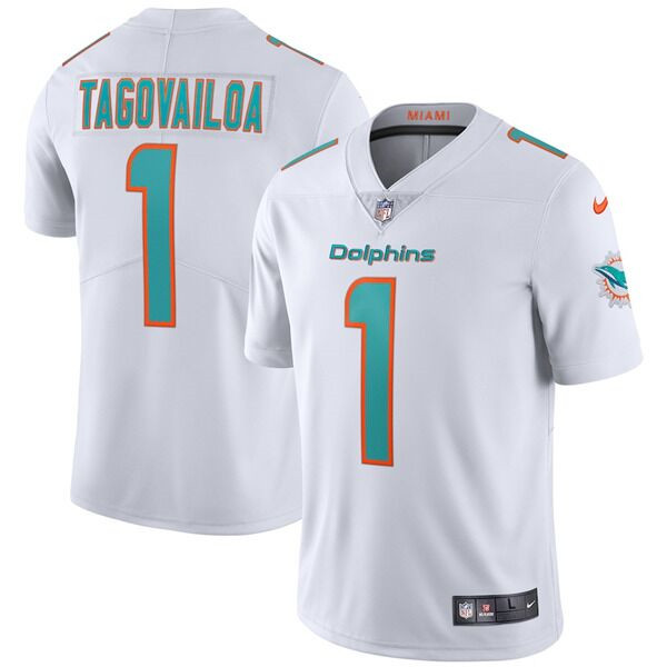 Youth Miami Dolphins #1 Tua Tagovailoa 2020 White Vapor Limited Stitched NFL Jersey