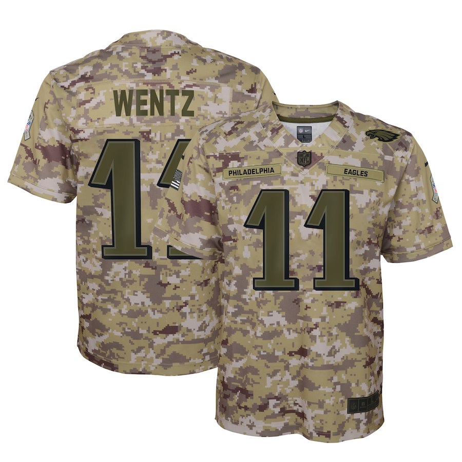 Youth Philadelphia Eagles #11 Carson Wentz 2018 Camo Salute To Service Limited Stitched NFL Jersey