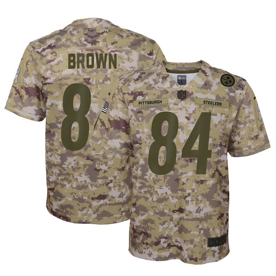 Youth Pittsburgh Steelers #84 Antonio Brown 2018 Camo Salute To Service Limited Stitched NFL Jersey