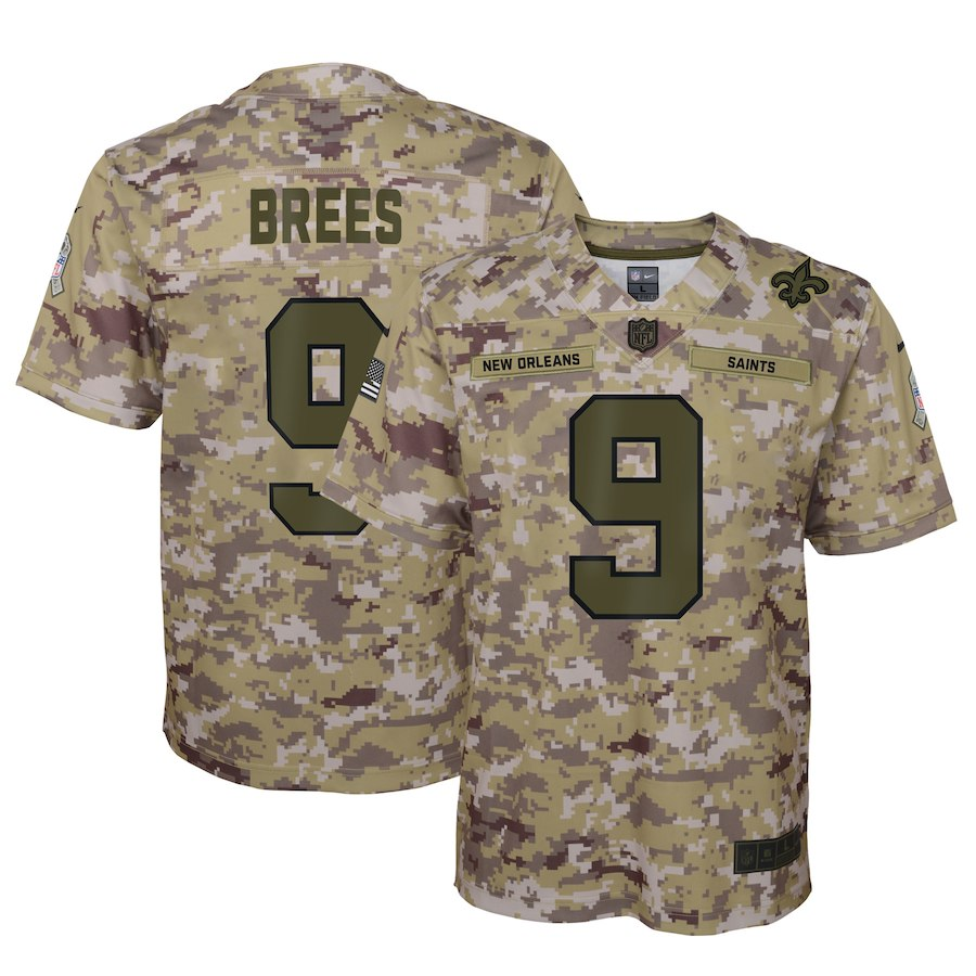 Youth New Orleans Saints #9 Drew Brees 2018 Camo Salute To Service Limited Stitched NFL Jersey