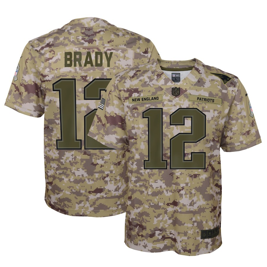 Youth New England Patriots #12 Tom Brady 2018 Camo Salute To Service Limited Stitched NFL Jersey