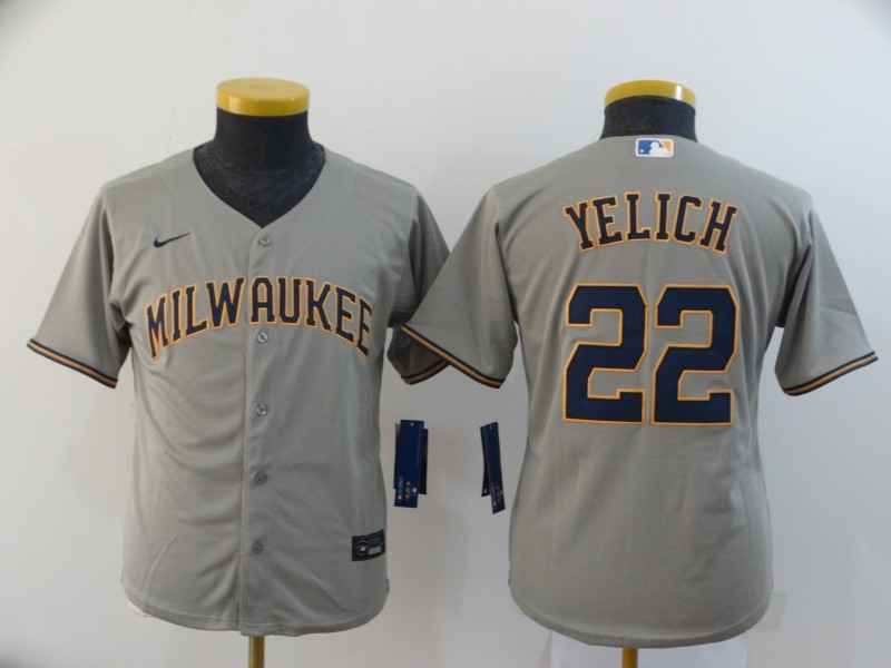 Youth Milwaukee Brewers #22 Christian Yelich Grey 2020 Cool Base Stitched MLB Jersey