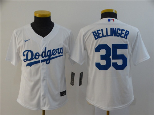 Youth Los Angeles Dodgers #35 Cody Bellinger White Cool Base Stitched MLB Jersey