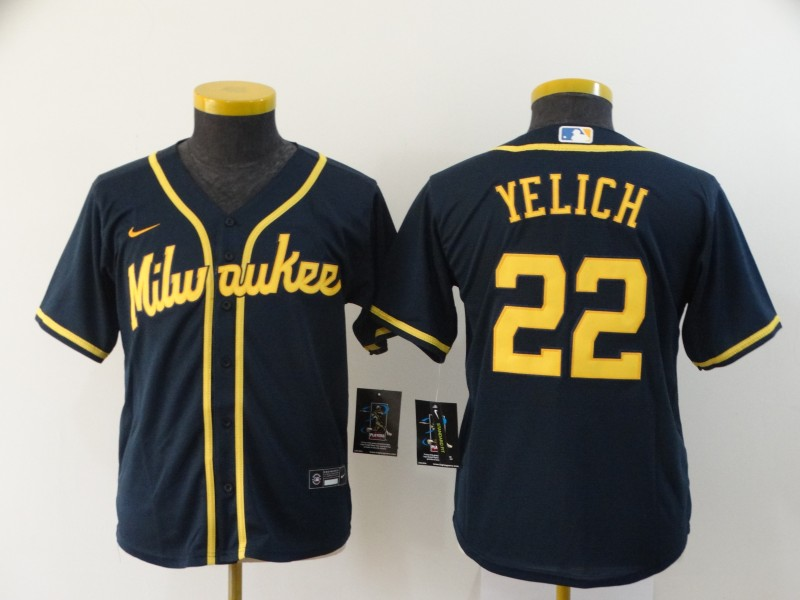 Youth Milwaukee Brewers #22 Christian Yelich Black 2020 Cool Base Stitched MLB Jersey