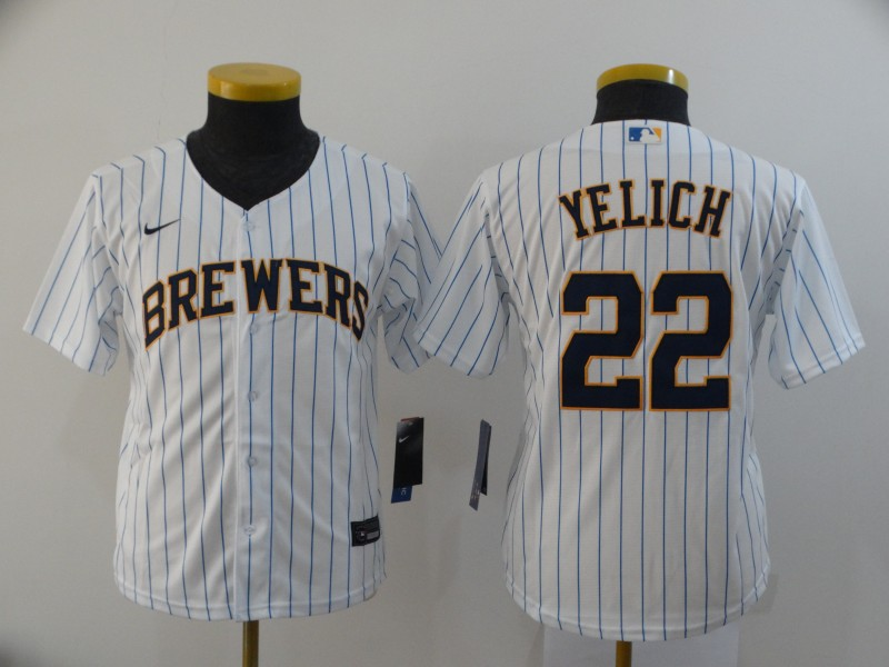 Youth Milwaukee Brewers #22 Christian Yelich White 2020 Cool Base Stitched MLB Jersey