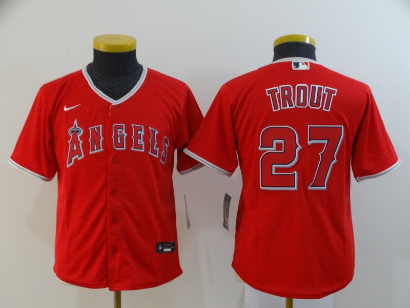 Youth Los Angeles Angels #27 Mike Trout Red Cool Base Stitched MLB Jersey