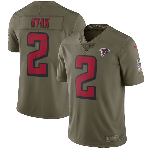 Youth Nike Atlanta Falcons #2 Matt Ryan Olive Salute To Service Limited Stitched NFL Jersey