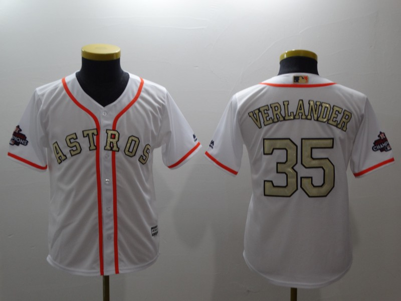 Youth Houston Astros #35 Justin Verlander Majestic White 2018 Gold Program Cool Base Player Stitched MLB Jersey