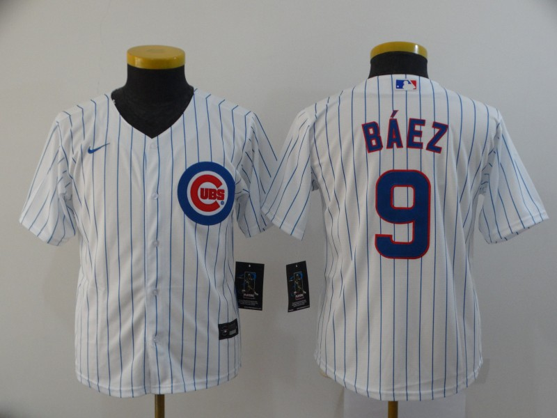Youth Chicago Cubs White #9 Javier Baez 2020 Cool Base Stitched MLB Jersey