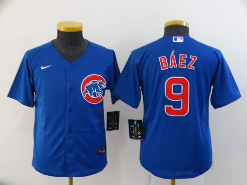 Youth Chicago Cubs Blue #9 Javier Baez Cool Base Stitched MLB Jersey