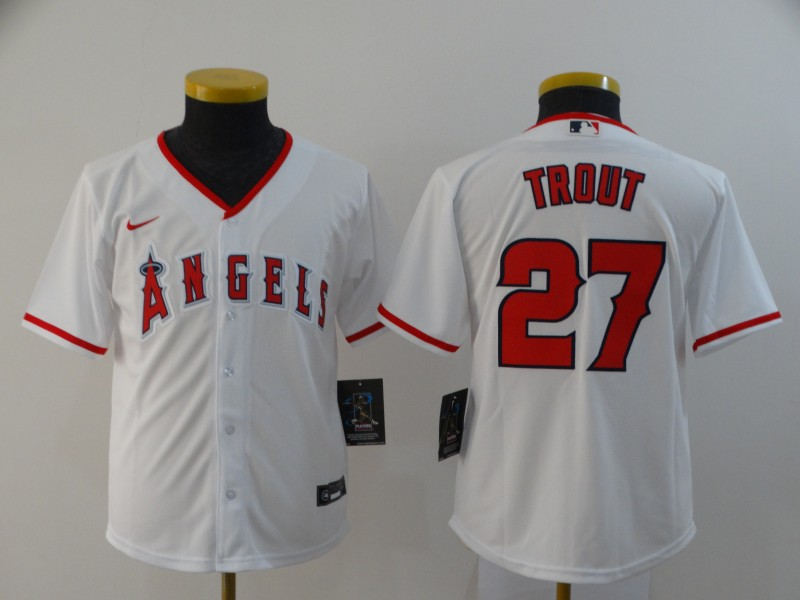 Youth Los Angeles Angels #27 Mike Trout White Cool Base Stitched MLB Jersey