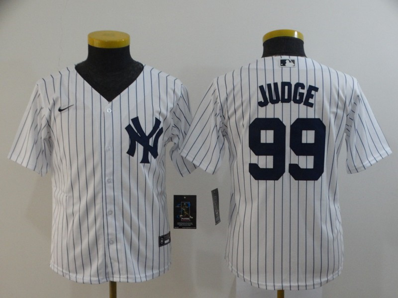 Youth New York Yankees #99 Aaron Judge White Cool Base Stitched MLB Jersey