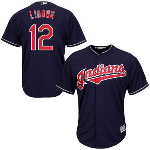 Indians #12 Francisco Lindor Navy Blue Alternate Stitched Youth MLB Jersey