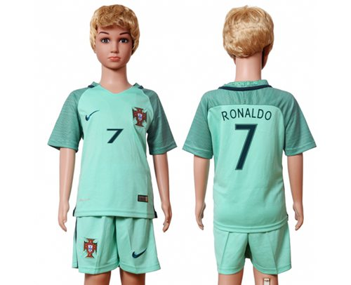 Portugal #7 Ronaldo Away Kid Soccer Country Jersey