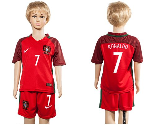 Portugal #7 Ronaldo Home Kid Soccer Country Jersey