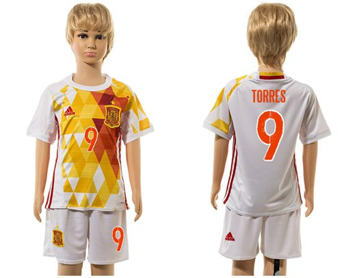 Spain #9 Torres White Away Kid Soccer Country Jersey