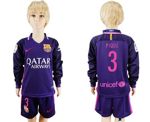 Barcelona #3 Pique Away Long Sleeves Kid Soccer Club Jersey