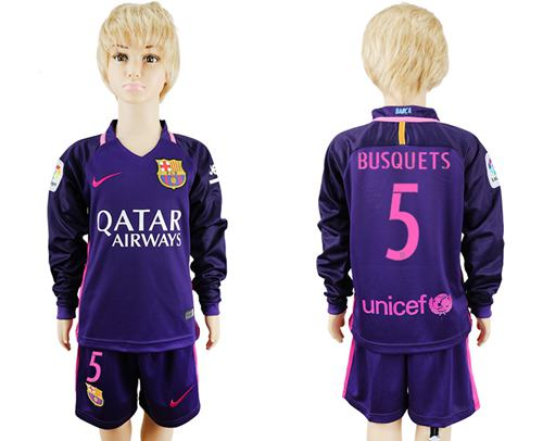 Barcelona #5 Busquets Away Long Sleeves Kid Soccer Club Jersey