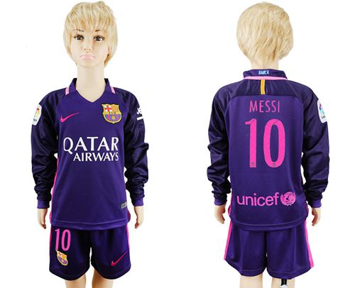Barcelona #10 Messi Away Long Sleeves Kid Soccer Club Jersey