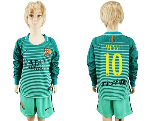 Barcelona #10 Messi Sec Away Long Sleeves Kid Soccer Club Jersey