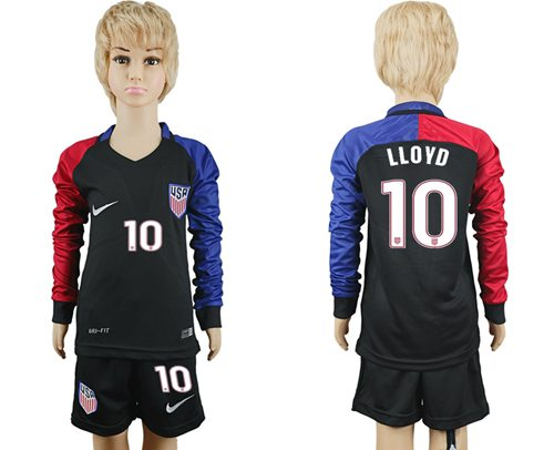 USA #10 LLOYD Away Long Sleeves Kid Soccer Country Jersey