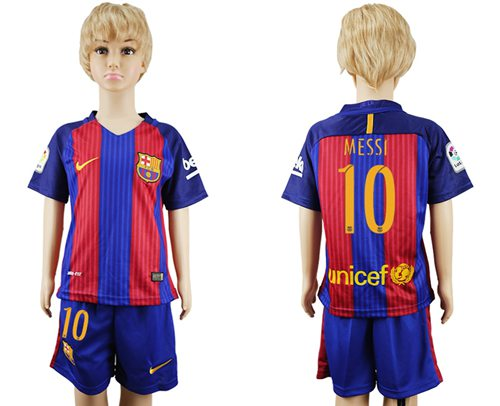 Barcelona #10 Messi Home Kid Soccer Club Jersey