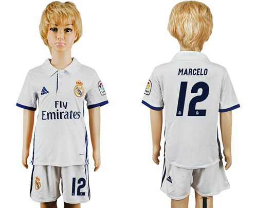 Real Madrid #12 Marcelo White Home Kid Soccer Club Jersey