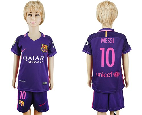 Barcelona #10 Messi Away Kid Soccer Club Jersey