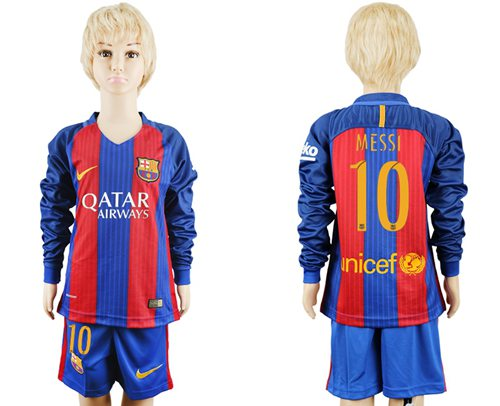 Barcelona #10 Messi Home Long Sleeves Kid Soccer Club Jersey