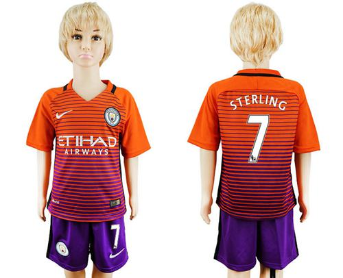 Manchester City #7 Sterling Sec Away Kid Soccer Club Jersey