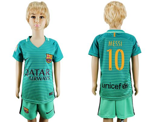 Barcelona #10 Messi Sec Away Kid Soccer Club Jersey