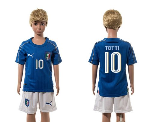 Italy #10 Totti Blue Home Kid Soccer Country Jersey