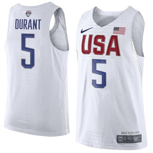Nike Team USA #5 Kevin Durant White 2016 Dream Team Game Youth NBA Jersey
