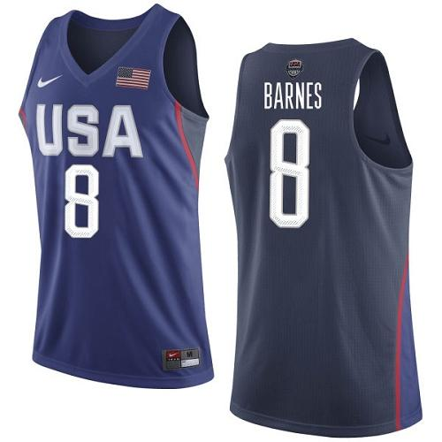 Nike Team USA #8 Harrison Barnes Navy Blue 2016 Dream Team Game Youth NBA Jersey