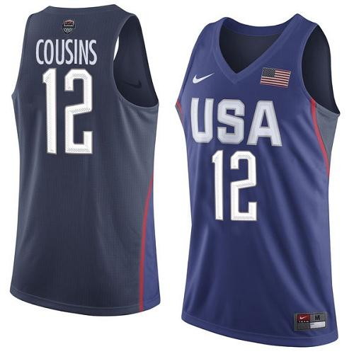Nike Team USA #12 DeMarcus Cousins Navy Blue 2016 Dream Team Game Youth NBA Jersey