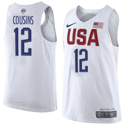 Nike Team USA #12 DeMarcus Cousins White 2016 Dream Team Game Youth NBA Jersey