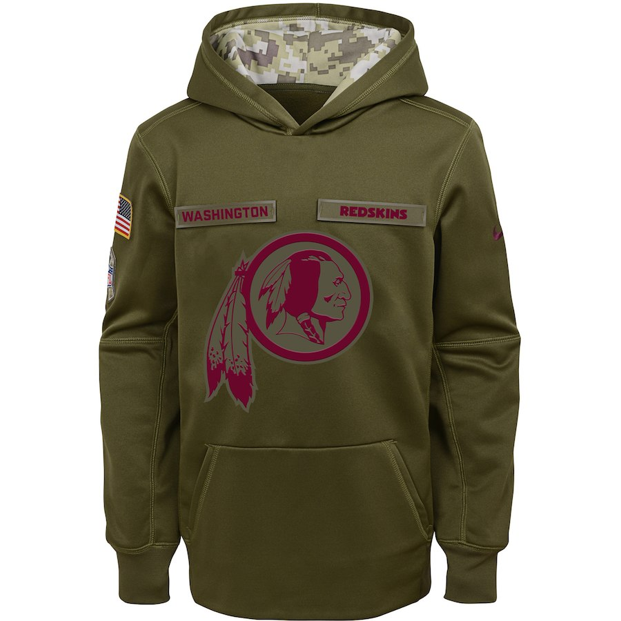 Youth Washington Redskins Olive Salute to Service Pullover Performance NFL Hoodie