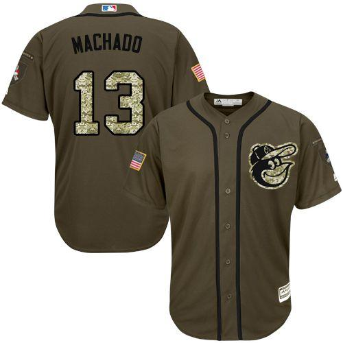 Orioles #13 Manny Machado Green Salute to Service Stitched Youth MLB Jersey