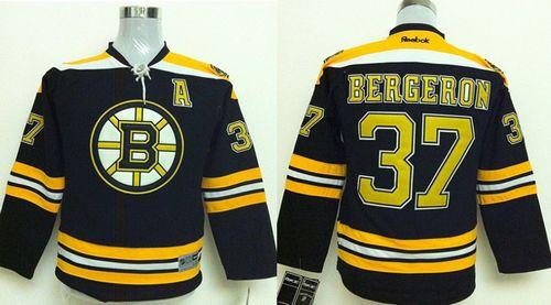 Bruins #37 Patrice Bergeron Black Stitched Youth NHL Jersey