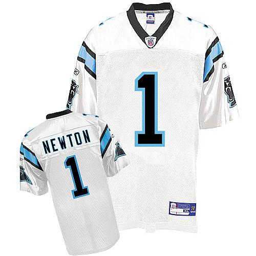 Panthers #1 Cam Newton White Stitched Youth NFL Jersey