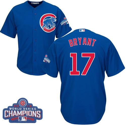 Cubs #17 Kris Bryant Blue Alternate 2016 World Series Champions Stitched Youth MLB Jersey