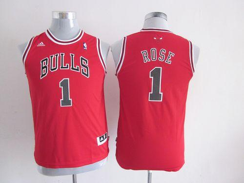 Bulls #1 Derrick Rose Red Stitched Youth NBA Jersey