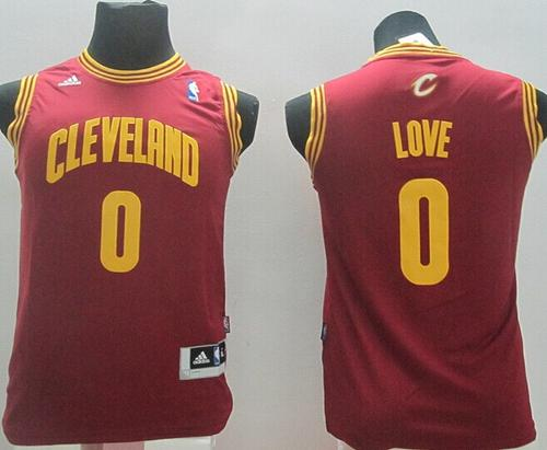 Revolution 30 Cavaliers #0 Kevin Love Red Stitched Youth NBA Jersey
