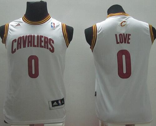 Revolution 30 Cavaliers #0 Kevin Love White Stitched Youth NBA Jersey