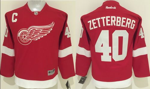 Red Wings #40 Henrik Zetterberg Red Home Stitched Youth NHL Jersey